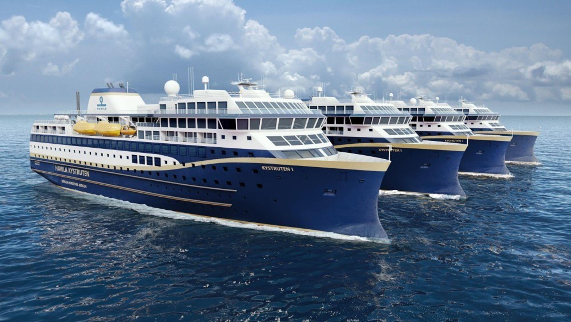 Havila Kystruten skal ha fire skip i drift mellom Bergen-Kirkenes i 10 år fra 2021. Nå kan det bli forsinkelser.