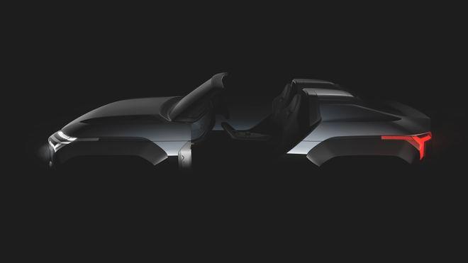 Så langt har Mitsubishi kun sluppet noen hemmelighetsfulle bilder av konseptbilen Mi-Tech, som ser ut til å være uten tak og dører.