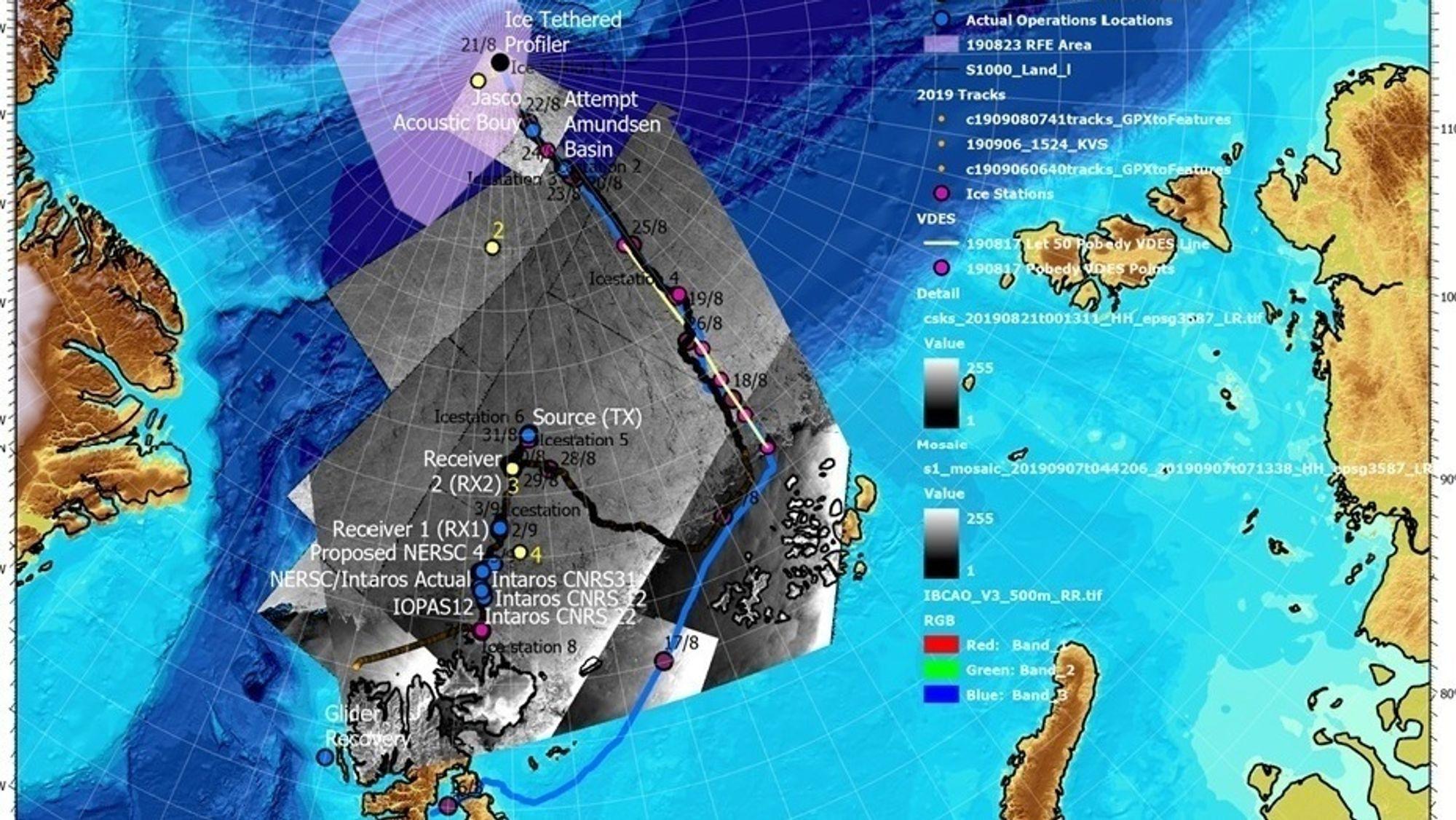Slik så det ut da KV Svalbard navigerte i råkene fra tidligere skipspasseringer i polisen.