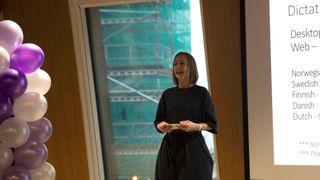 Forsknings- og høyere utdanningsminister Iselin Nybø talte under Microsofts lansering av talegjenkjenning på norsk denne uken.