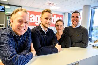 Disse skal lage finansnettstedet Børsen for Dagbladet og Aller Media: Jon Even Andersen (fra venstre), Nicolai Eriksen, Linn-Christin Martinussen og Jan Thomas Holmlund.