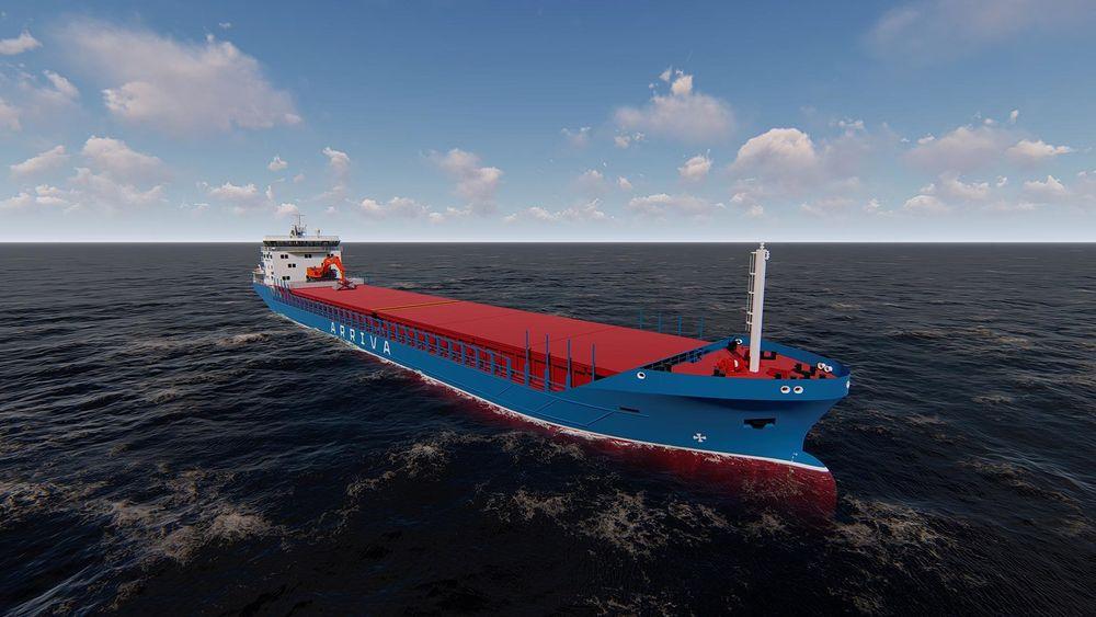 Arriva Shipping får levert et nytt hybrid bullskip i 2020. Det 119,5 meter lange skipet har en dødvekt på 7.600 tonn.