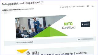 Utsnitt av eposten NITO feilsendte til 17.000 mottakere.