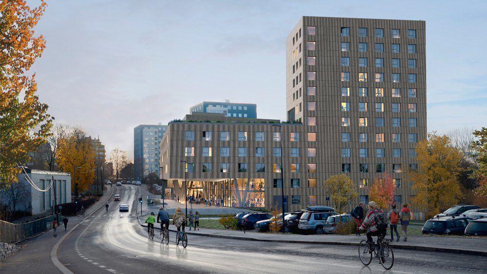 De nye studentboligene i Blindernveien 6 skal bygges i fem etasjer ut mot veien, og 12 etasjer i bakkant.