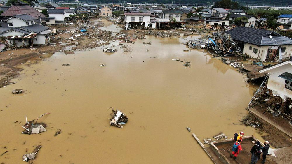 En sterkere El Niño gir flere tyfoner i Stillehavet, ifølge studien. Nylig rammet tyfonen Hagibis Japan med stor styrke. Bildet er etter at elva Chikuma flommet over forrige uke.