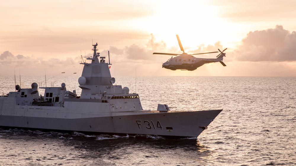 NH90 lander på fregatten KNM Thor Heyerdahl i forbindelse med øvelsen Flotex 2017.