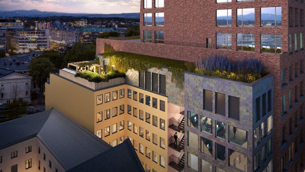 Ombruksbygget er et tilbygg til et annet Entra-prosjekt i Tullinkvartalet i Oslo.