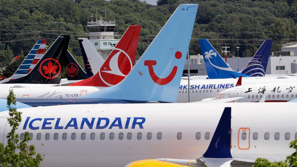 Boeings 737 MAX-fly er satt på bakken over hele verden. Her fra et parkeringsområde for fly i Seattle.