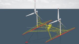 Ny løsning for havvindmøller: To vindturbiner på én plattform
