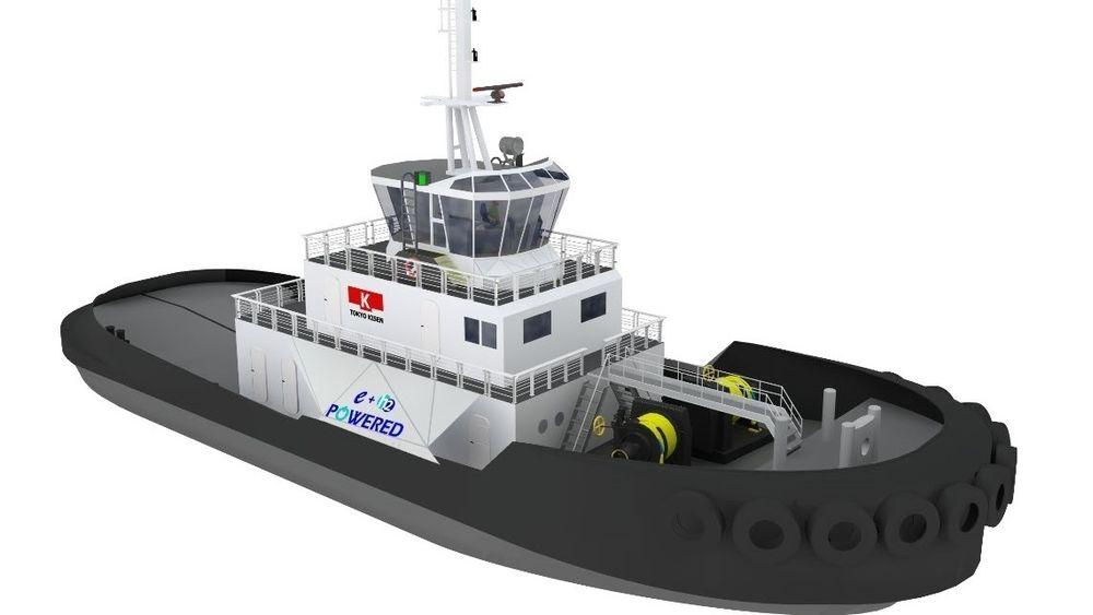 Tokyo Kisen og e5Lab Inc står bak en elektrisk taubåt drevet av batterier og med brenselceller og hydrogen som backup. To azimuthpropeller på 1.500 kW gir en trekkraft på 50 tonn.