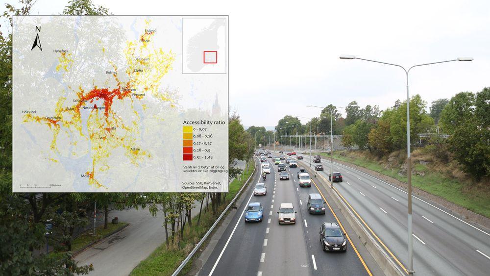 På tross av godt kollektivtilbud langs E18 i Bærum er arbeidsplassene mye mer tilgjengelige med bil enn kollektivt.