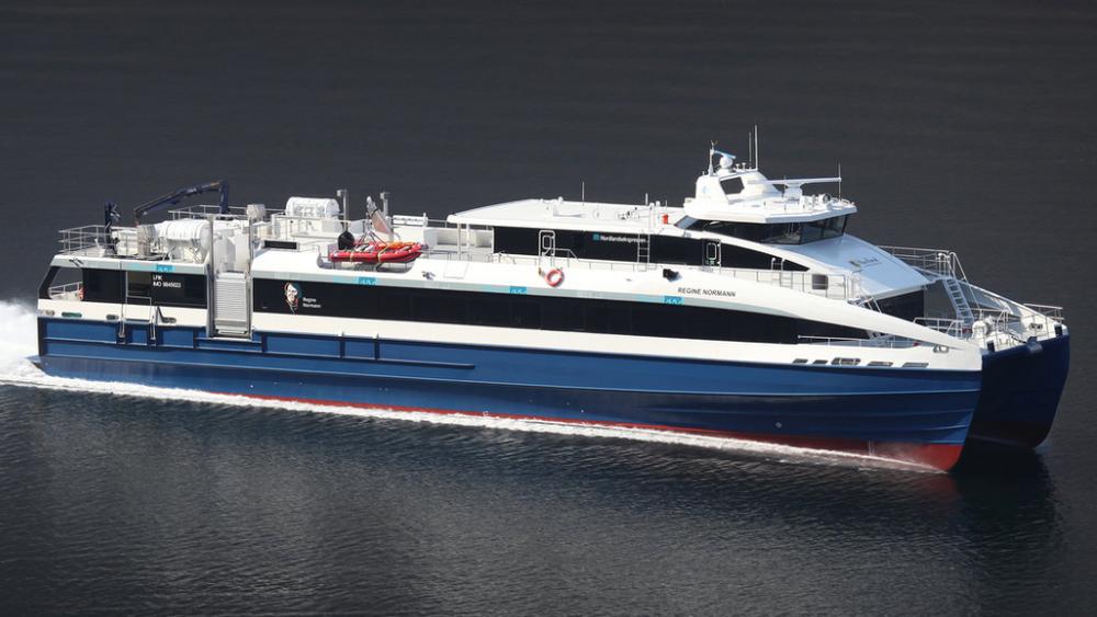 Den nye hurtigbåten «Regine Normann» ble levert i mars 2019.