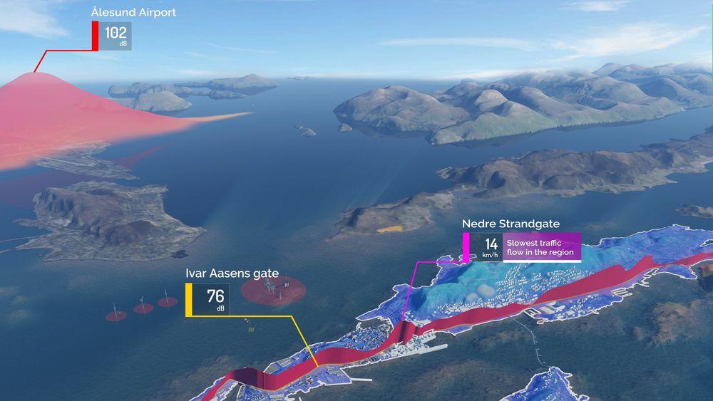 Simulering utviklet for offshoreindustrien brukes nå i byutvikling. Illustrasjonen viser eksempler. Bak til venstre en støykurve fra flyplassen, gjennom byen ser man effekten av kødannelse i rushtiden.