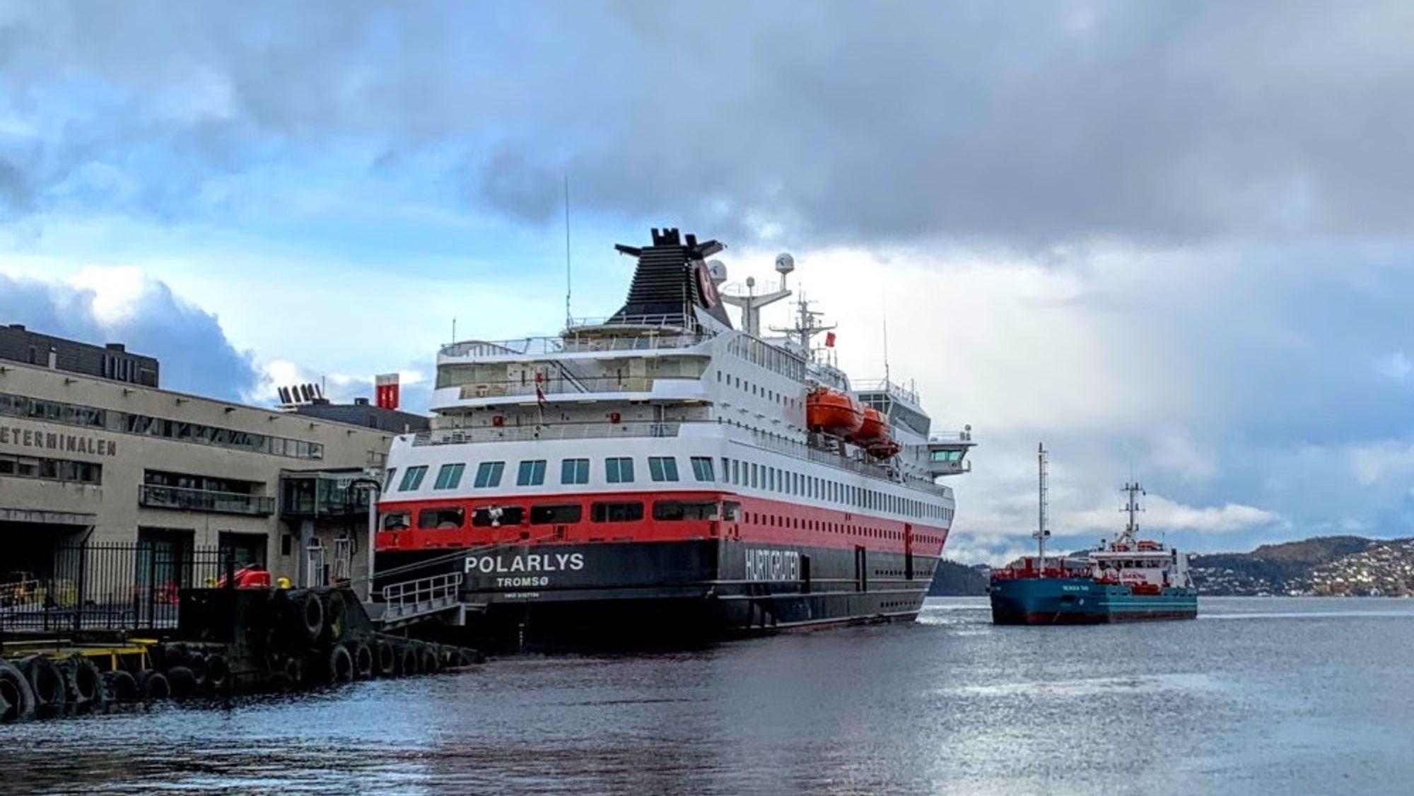 Hurtigruteskipet Polarlys testet biodiesel denne uken.