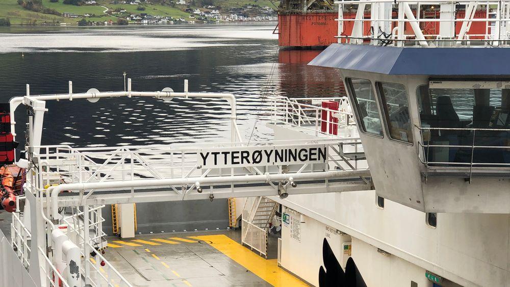 MF Ytterøyningen ligger ved Westcon Verft i Ølensvåg.