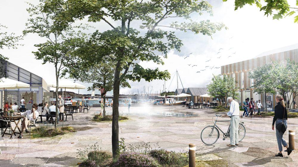 Slik tenker de danske landskapsarkitektnee i Bogl at det nye torget i Tananger se ut.