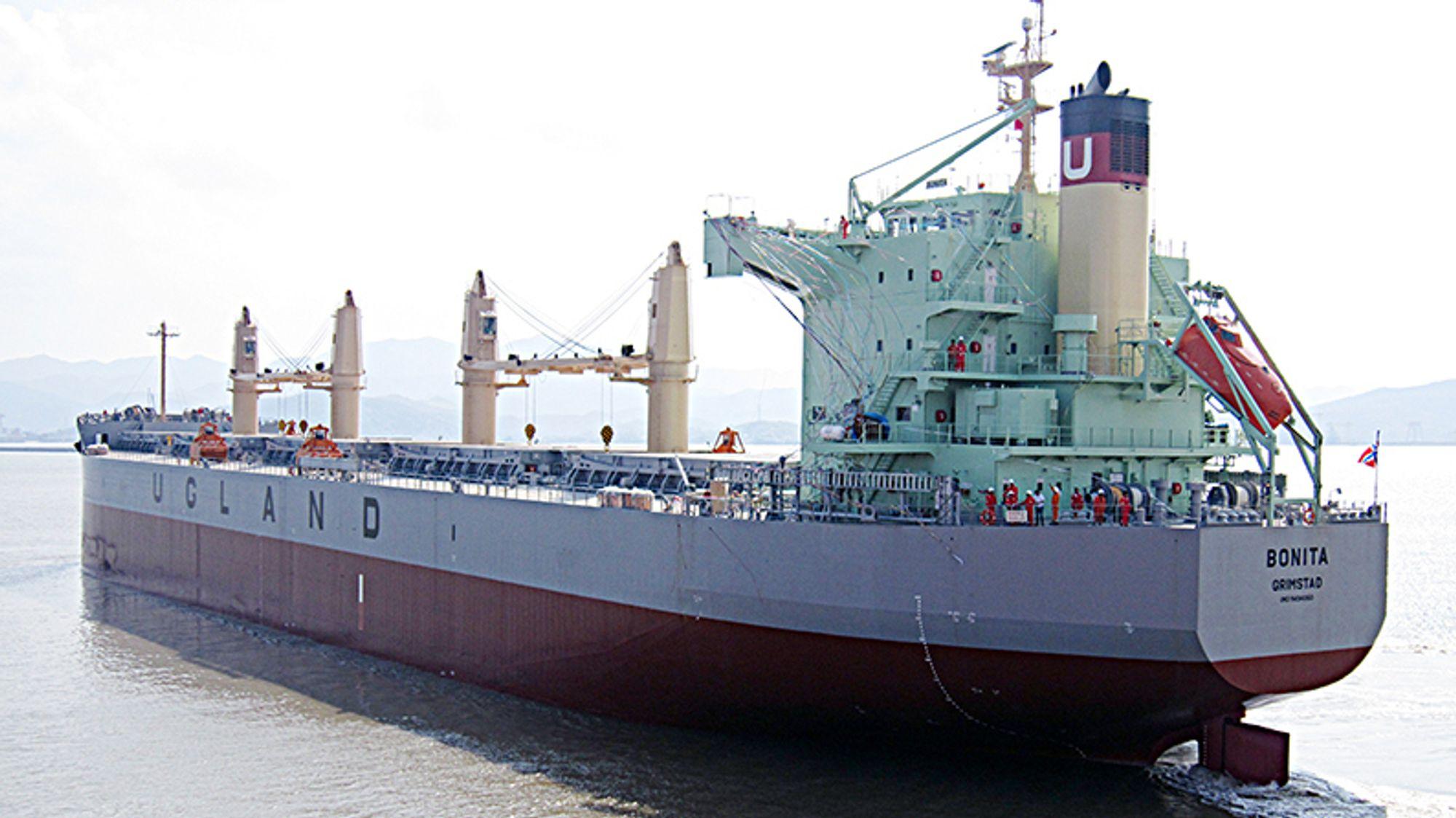 Arkivbilde av det norske skipet Bonita, som er eid av Ugland-rederiet og ble kapret utenfor Benin i Vest-Afrika