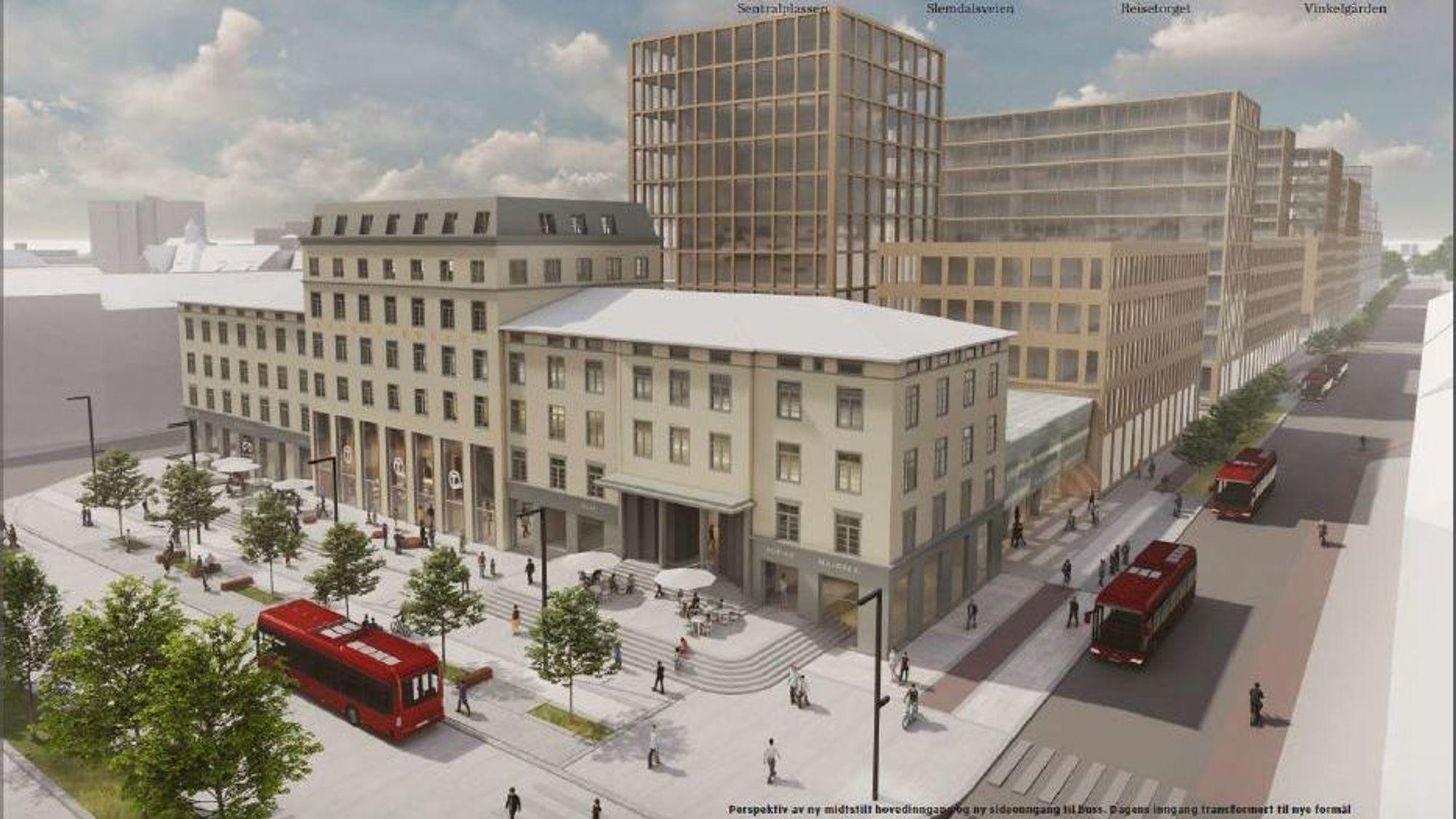 Slik vil stasjonen se ut dersom man velger den rimeligste ettplansløsningen på Majorstuen.