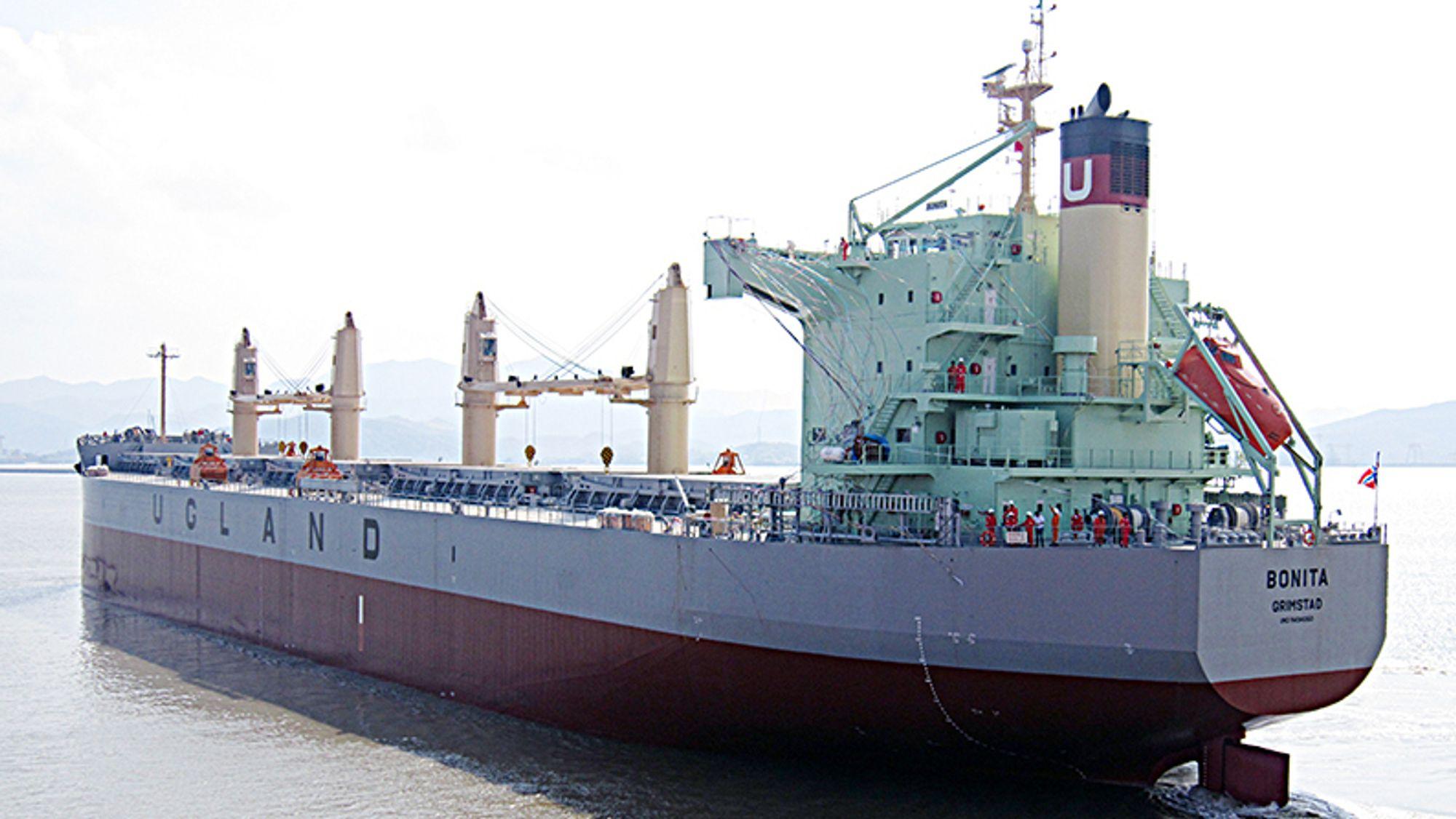 Arkivbilde av det norske skipet Bonita, som er eid av Ugland-rederiet og ble kapret utenfor Benin i Vest-Afrika.