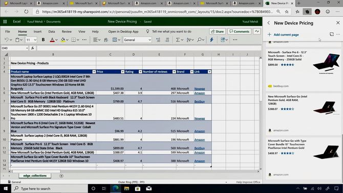 Collections on the new Edge can be exported to Excel, among others. Metadata is also included.