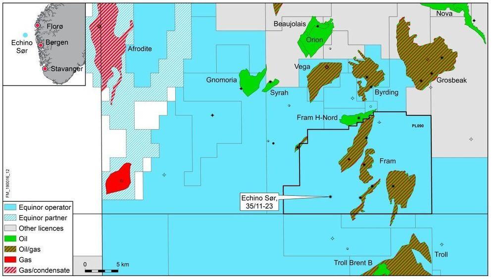 Equinor og partnerne har funnet olje og gass i Echino Sør i Nordsjøen, med utvinnbare ressurser på opptil 100 millioner fat olje og gass.