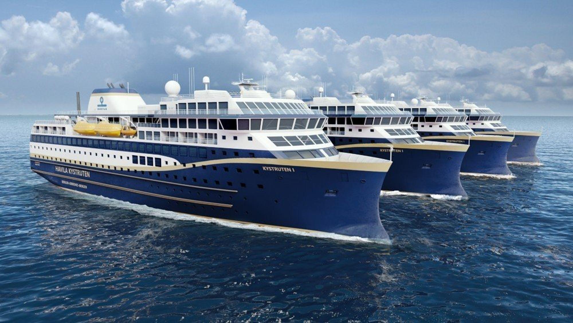 Havila Kystruten skal ha fire skip i drift mellom Bergen-Kirkenes i 10 år fra 2021. Skipene skal ta i bruk LNG og batterier. To av skipene er kraftig forsinket fra Spania.