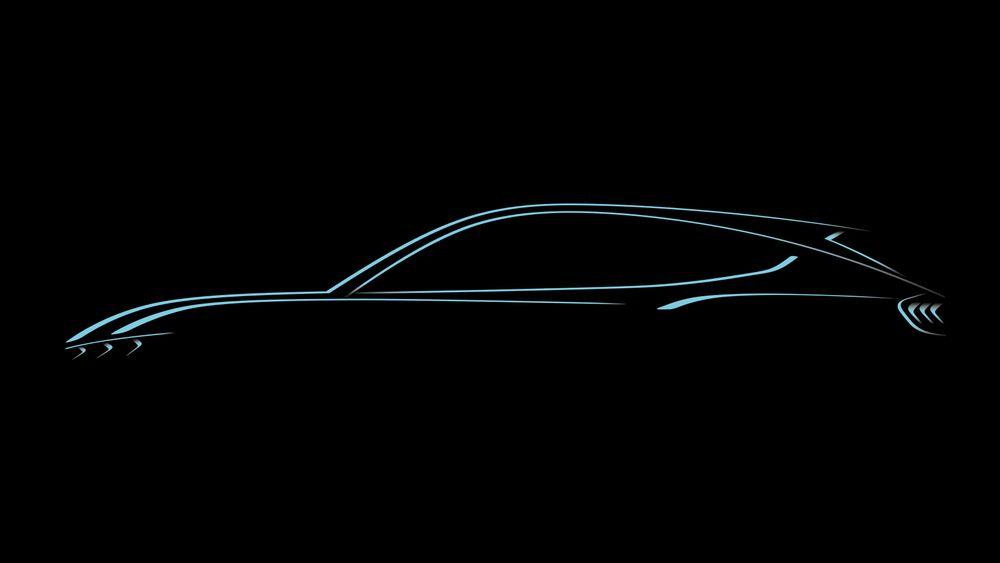 Ford har publisert denne skissen av sine kommende el-SUV. Fronten og hekken kan minne om dagens Ford Mustang.