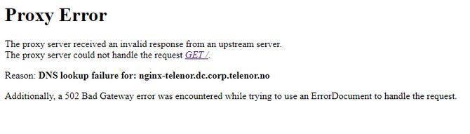Feilmeldingen på Telenors nettsted.