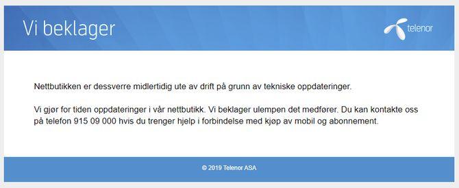 Nettbutikken til Telenor melder om tekniske oppdateringer selv om det høst sannsynlig er tekniske problemer som er årsaken til at nettbutikken ikke virker.