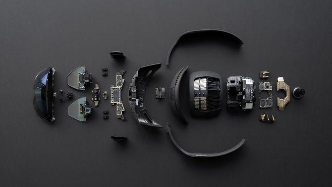 Delene som Hololens 2 består av.