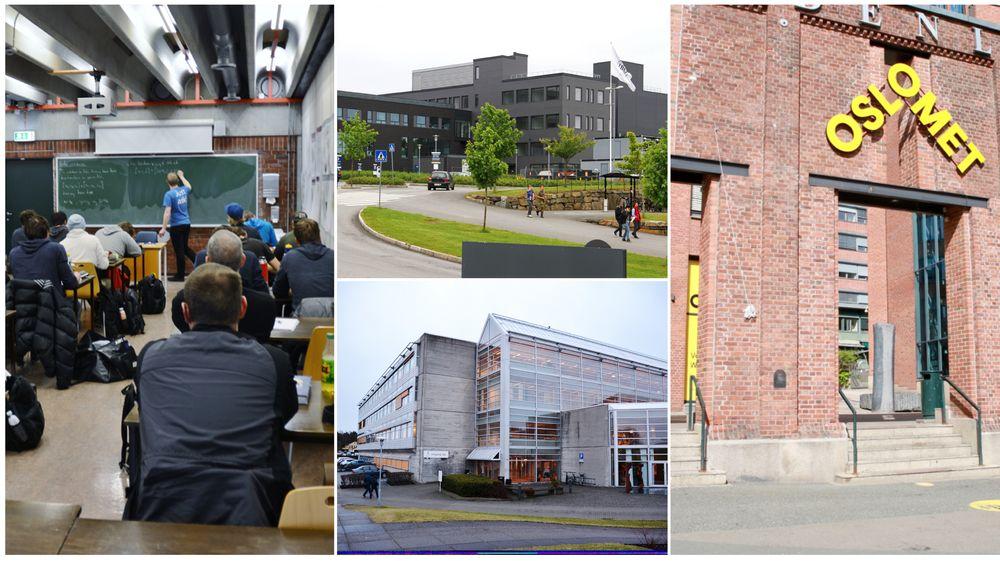 Universitetene sier at de holder utdanningene sine relevante. Fra venstre: Oslomet, Universitetet i Agder og Universitetet i Stavanger.