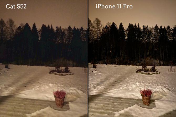Cat S52 tar slett ikke dårlige bilder om natten, selv om den ikke har dedikert nattmodus slik for eksempel iPhone 11 Pro (til høyre) har.