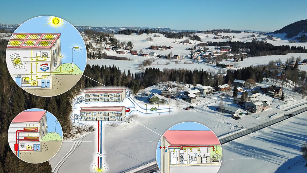 Området rundt de nye energieffektive leilighetene i Stod i Steinkjer består av eneboliger. De som flytter inn i de nye leilighetene kan regne med et energiforbruk som bare er en brøkdel av hva som er tilfelle i en vanlig bolig.