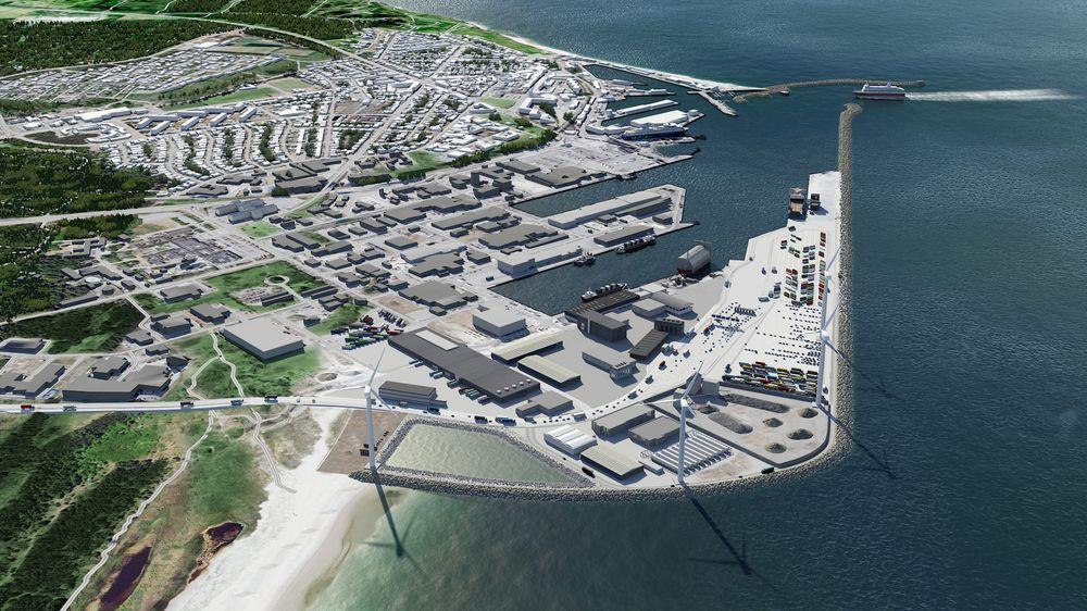 I havnen i Hirtshals på nordspissen av Jylland settes det opp fire vindturbiner som kan forsyne havnekraner, biler og skip med fornybar kraft. Det er de første turbinene i Danmark som settes opp på kommersielle betingelser – uten statlige midler, skriver artikkelforfatteren