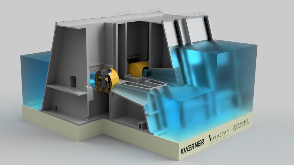 Denne illustrasjonen viser hvordan Tidetec sin dreibare turbinløsning kan monteres i et tidevannskraftverk.