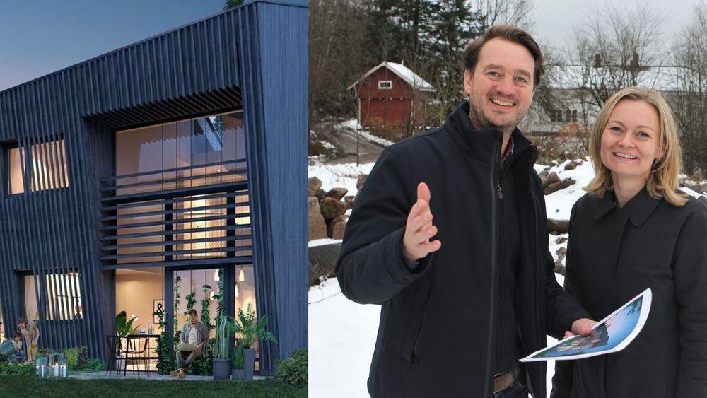 Utbyggerne Kjetil og Gro Stake har 50 mål til disposisjon på Åros i Røyken kommune. Lønnsom bærekraft er mottoet.