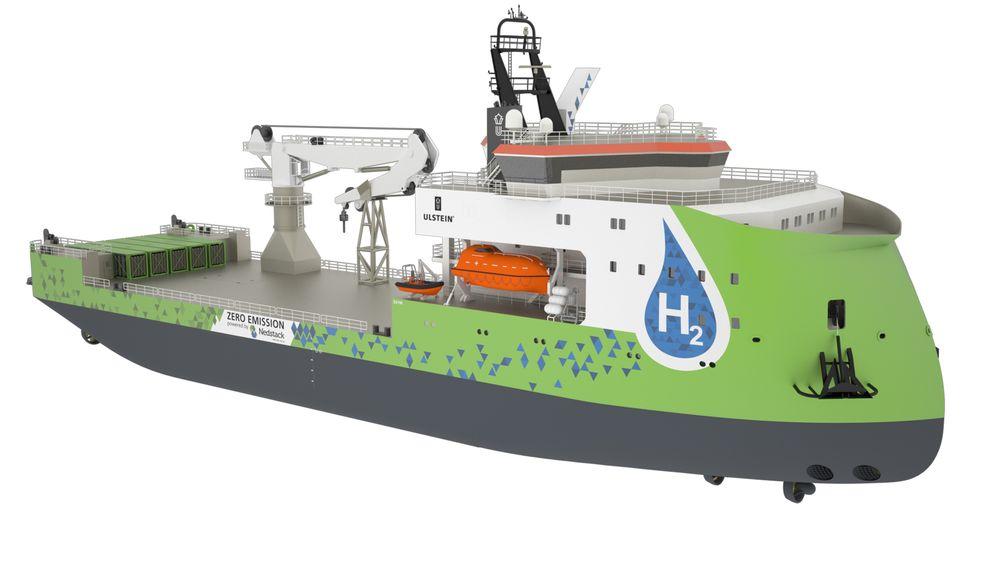 Ulstein SX190 SCV med brenselceller og komprimert hydrogen plassert i containere på dekk. Fartøyet skal kunne seile fra 2020, hevder Ulstein Group.