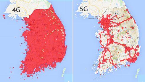 Dekningskart over 4G og 5G fra operatøren KT.