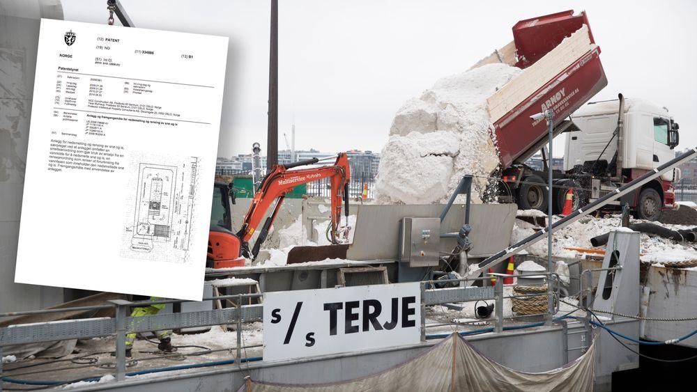 Anlegget på lekteren S/S Terje smelter snø fra Oslos gater og renser smeltevannet.