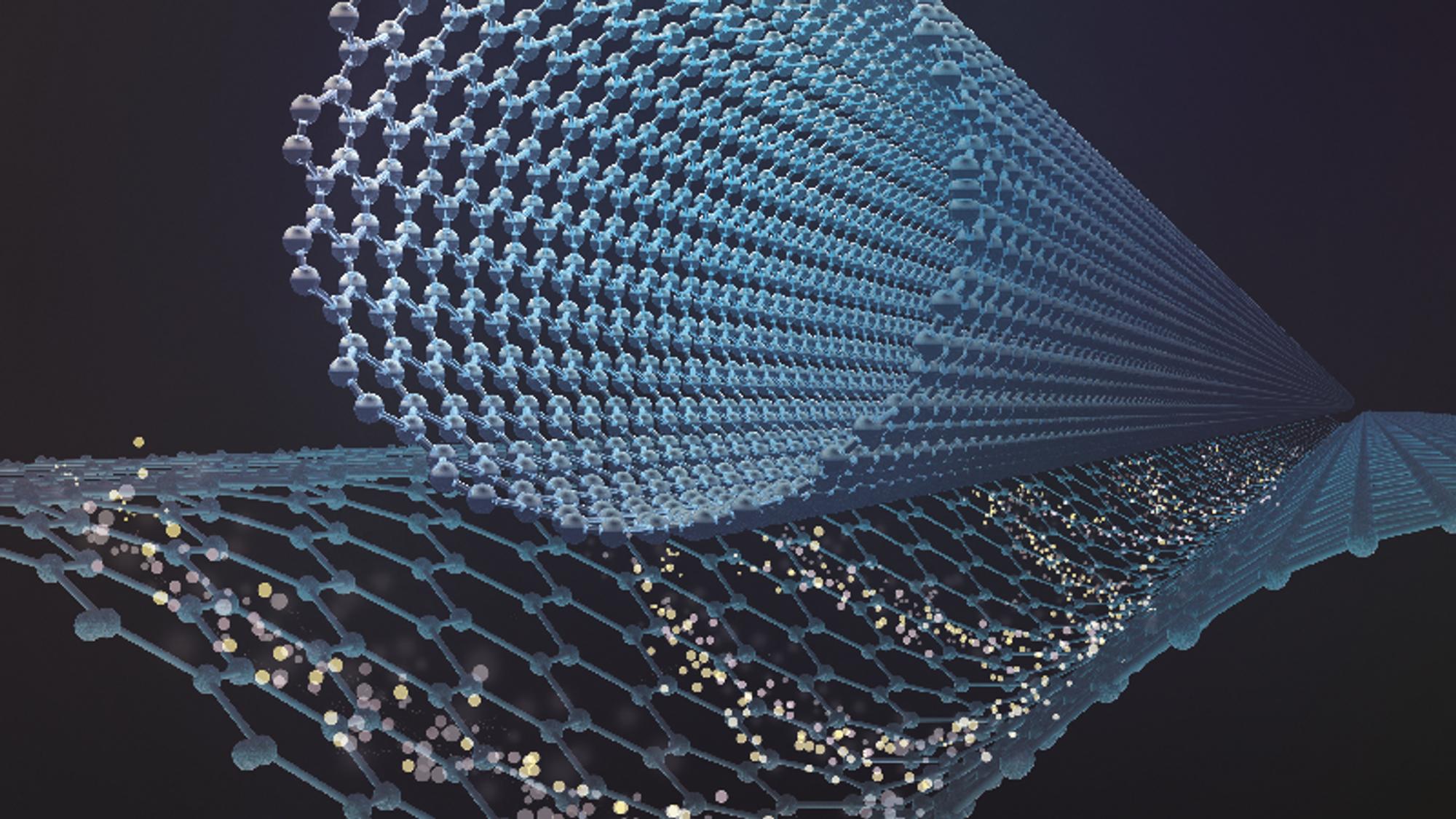 Med en elektrisk spenning satt på nano-karbonrøret (øverst), induseres et elektrostatisk potensial i det underliggende grafénlaget, som kan holde elektroner fanget på samme måte som fotoner kan holdes fanget i en optisk fiber. Det elektriske potensialet er her illustrert som en fordypning i grafénlaget – i virkeligheten er laget fullstendig flatt.