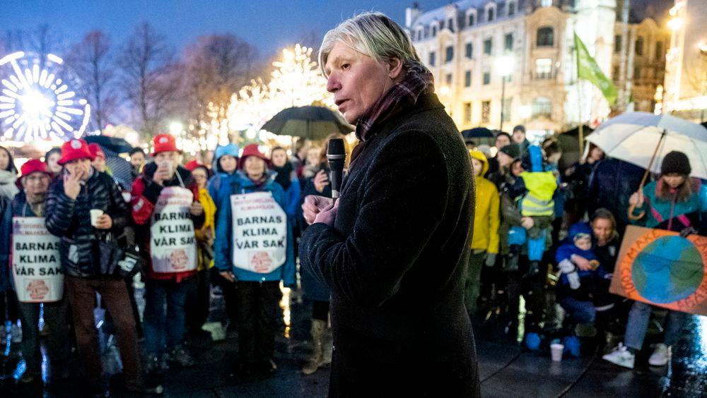 Klima- og miljøminister Ola Elvestuen deltok i klimamarkering foran Stortinget nylig.  Over 30 organisasjoner ønsker at regjeringen skal ha høyere ambisjoner i klimapolitikken før Elvestuen drar til klimatoppmøtet i Madrid.