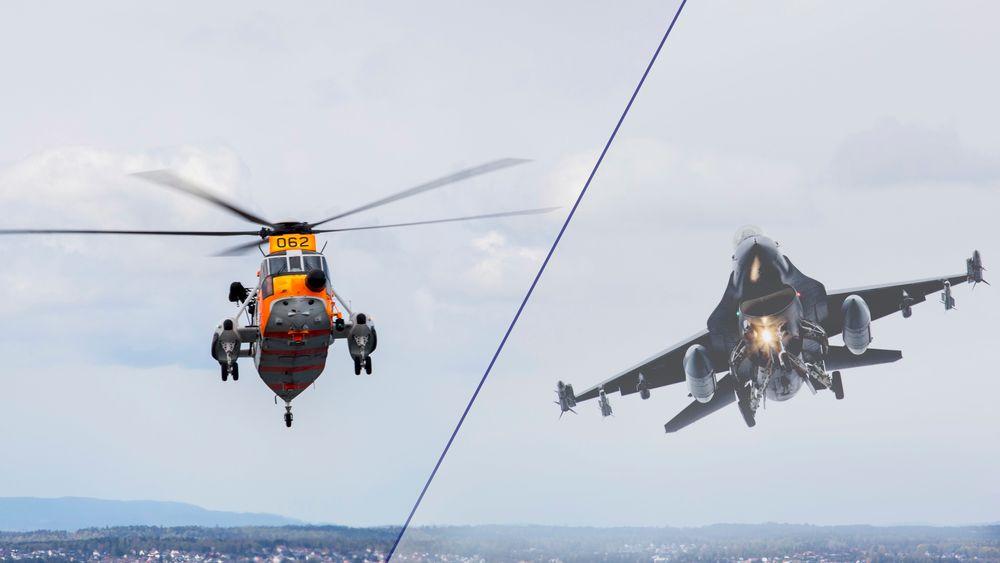 Norge har potensielt 40 luftfarkoster til salgs: Både redningshelikoptre av typen Sea King og jagerfly av typen F-16.