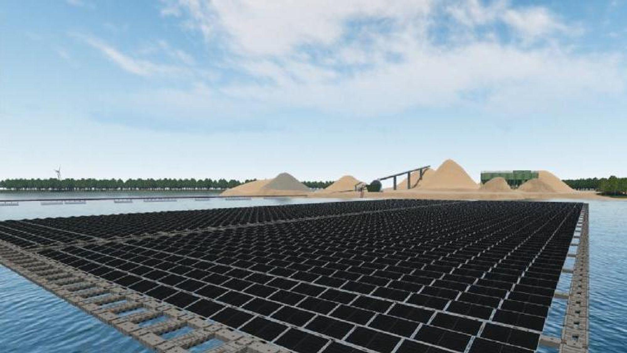 Vattenfall skal bygge flytende solcellepark i Nederland.