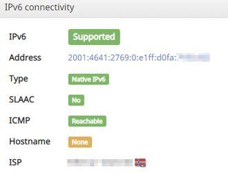 Test av tilkobling via IPv6 hos tjenesten IPv6-test.com.