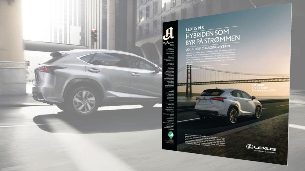 Forbukertilsynet mener Lexus driver villedende markedsføring i denne annonsen, hvor de hevder at Lexus NX er «hybriden som byr på strømmen».