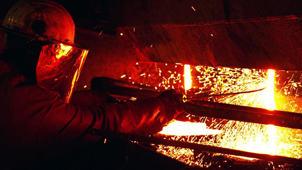 Fra stålsmelteverket i Mo i Rana.