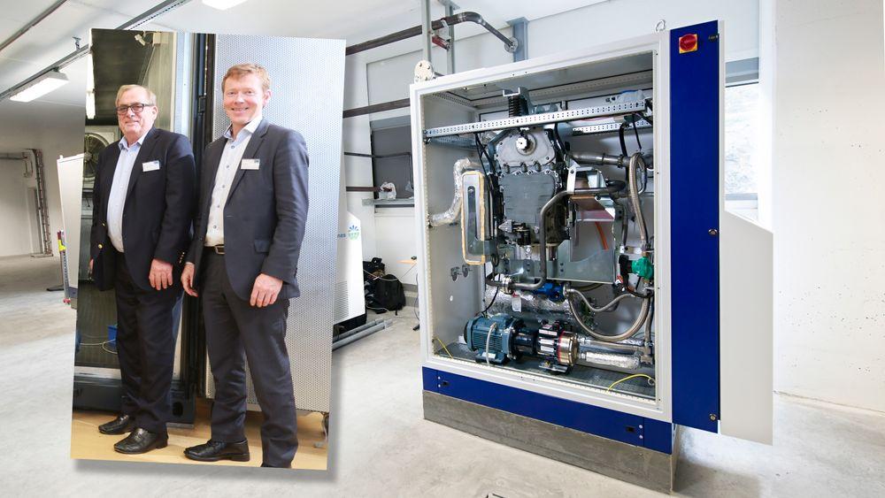 Styreformann og hovedaksjonær Tore Hansen-Tangen og daglig leder Tor Hodne i Viking Heat Engines.