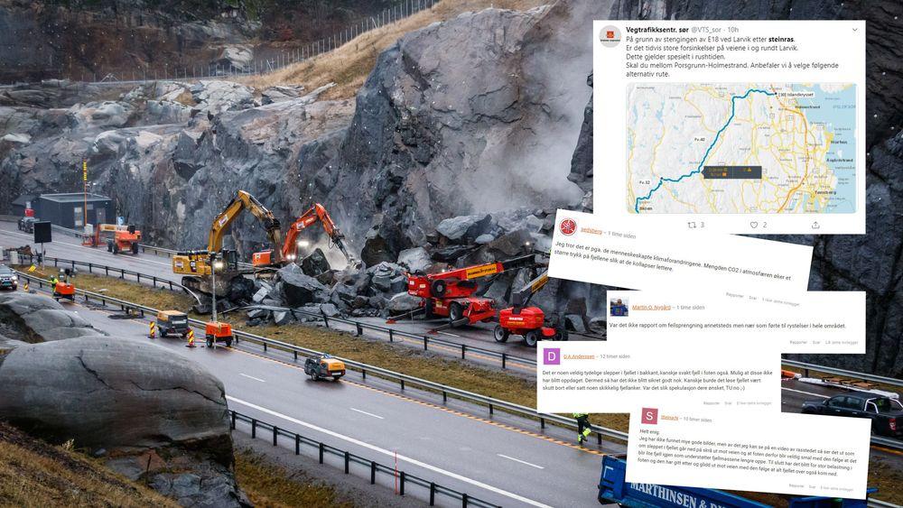 Vegvesenet vil ikke si noe om hva som kan ha skjedd da steinblokkene raste ut i veien ved Bommestad i Larvik.