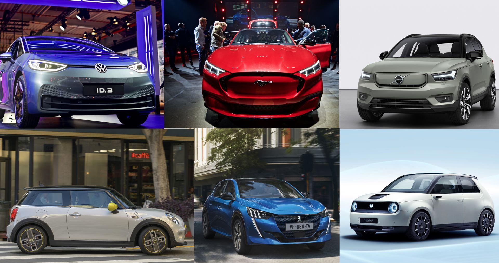 Volkswagen, Ford Mustang, Volvo, Mini Cooper, Peugeot og Honda leverer alle nye elbilmodeller til det norske markedet i 2020.