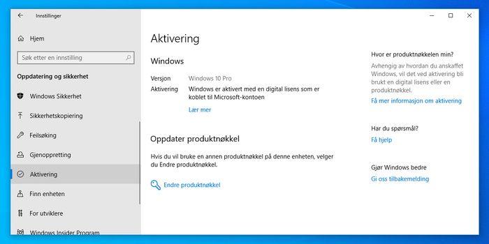 Aktiveringsseksjonen i innstillingene i Windows 10.